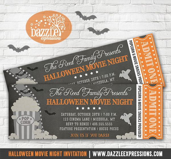 printable halloween movie night ticket invitation halloween party chalkboard invitation hollywood film scary - Halloween Night Party