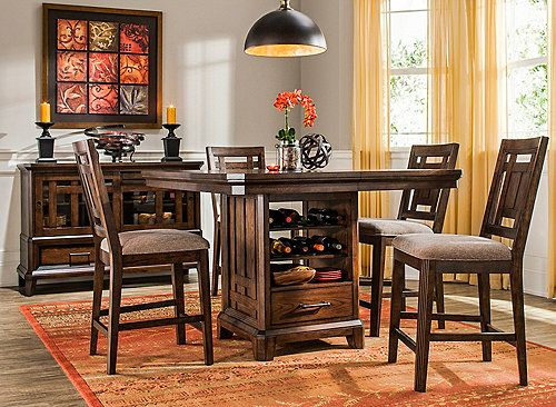 The Acorn Hill 5 Piece Counter Height Dining Set Provides The Perfect Blend  Of