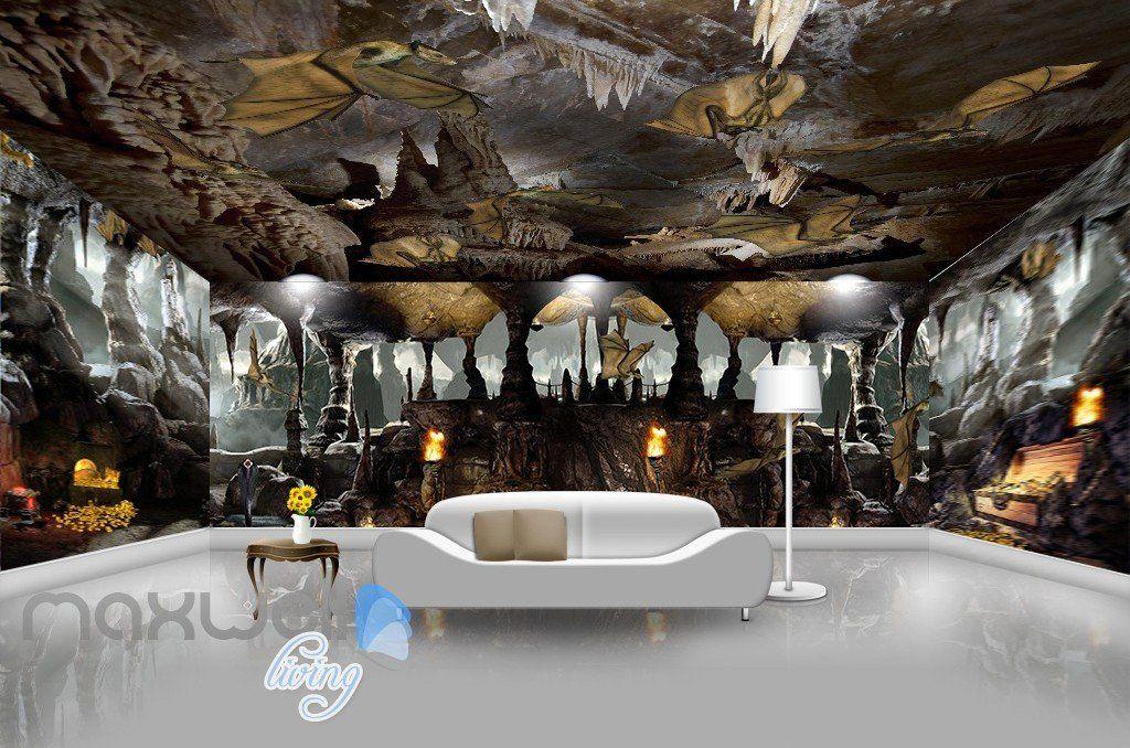 3d Cave Treasure Bat Wall Murals Wallpaper Wall Paper Decals Art