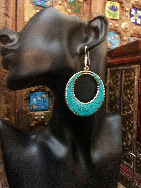 Tribal earrings - Raw stone jewellery -Tibetan jewelry  - turquoise earrings -artisan earrings -ethnic necklace-  tribal jewelry by Omanie on Etsy