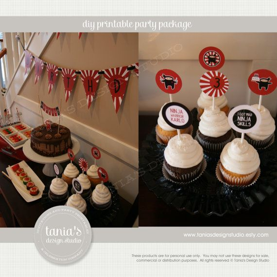 """Love these cupcake toppers - """"Mad Ninja Skills""""...what 10 year old wouldn't love these?"""