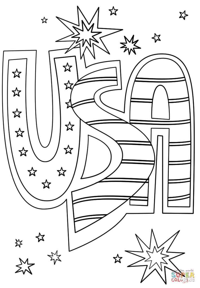 Usa Doodle Super Coloring Flag Coloring Pages Memorial Day Coloring Pages Star Coloring Pages