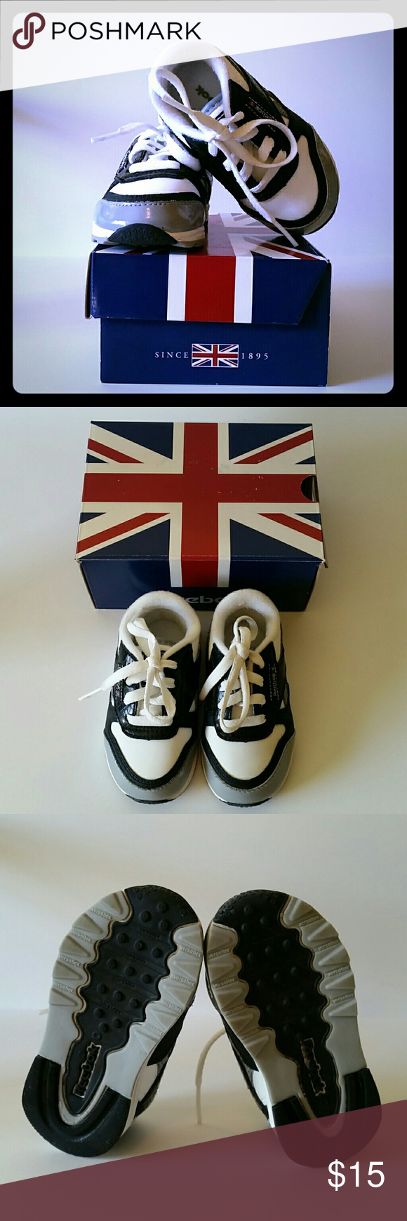 KIDS Reebok baby shoes size 4 Used with box-  Reebok baby shoes with patent leather detail in black, gray and white.  Size 4 Reebok Shoes Sneakers
