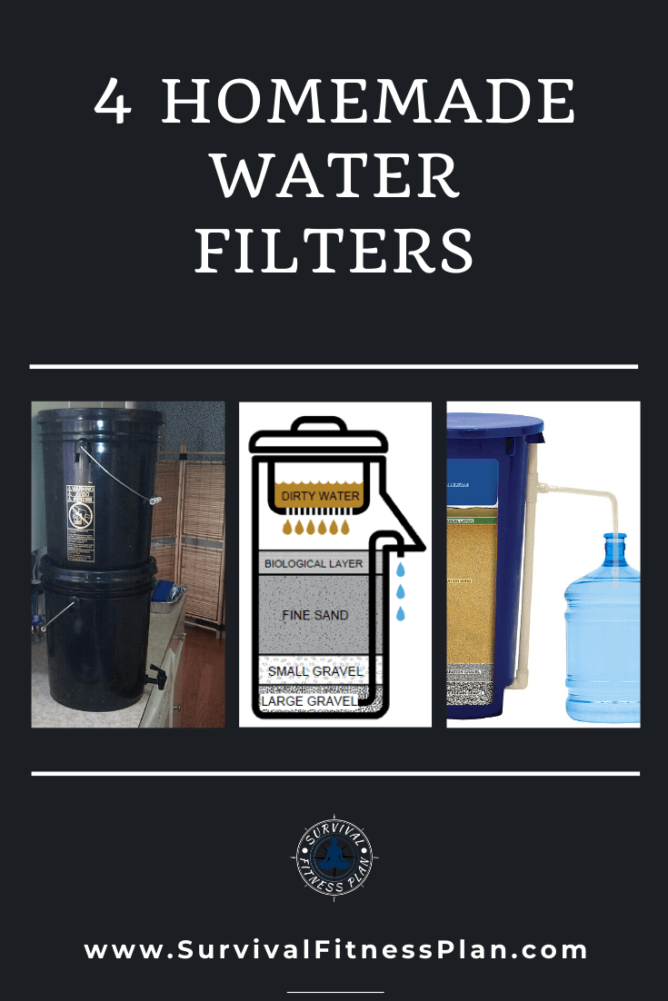 Learn how to make four different types of homemade water filtration systems download your FREE report on how to make your own soap! #sustainableliving #diywaterfilter #survivalfitnessplan