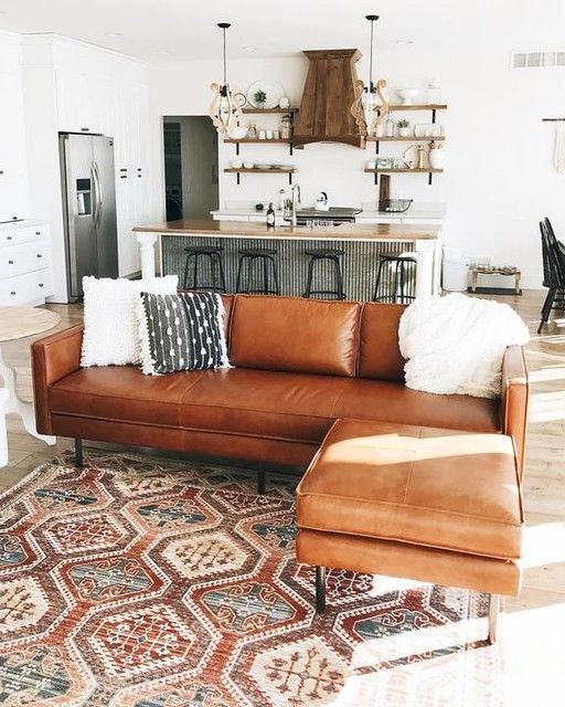 Axel Ottoman, Leather, Saddle #apartmentlivingrooms