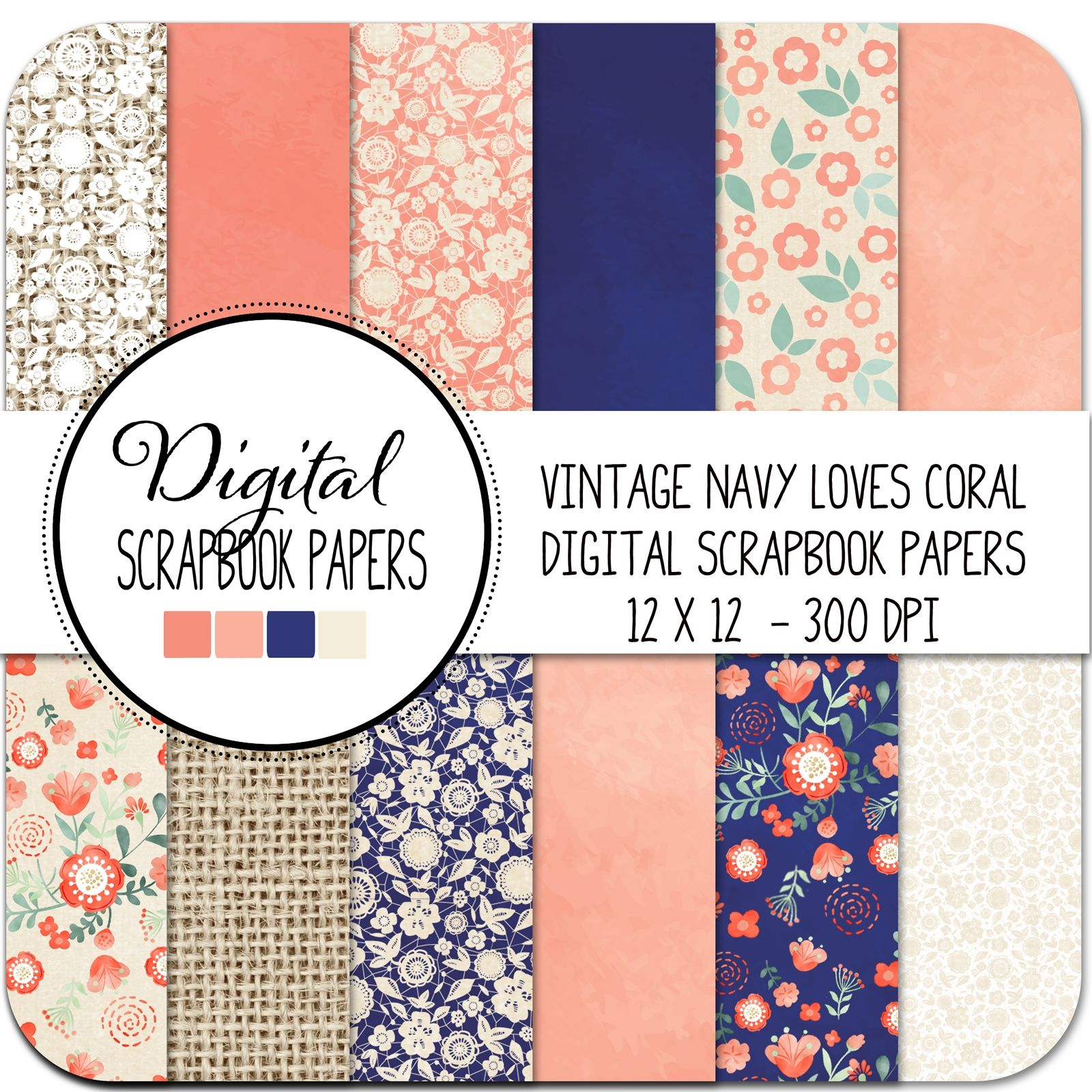 Scrapbook paper booklet - Navy Loves Coral Vintage Digital Scrapbook Papers Navy Coral Flowers Stars
