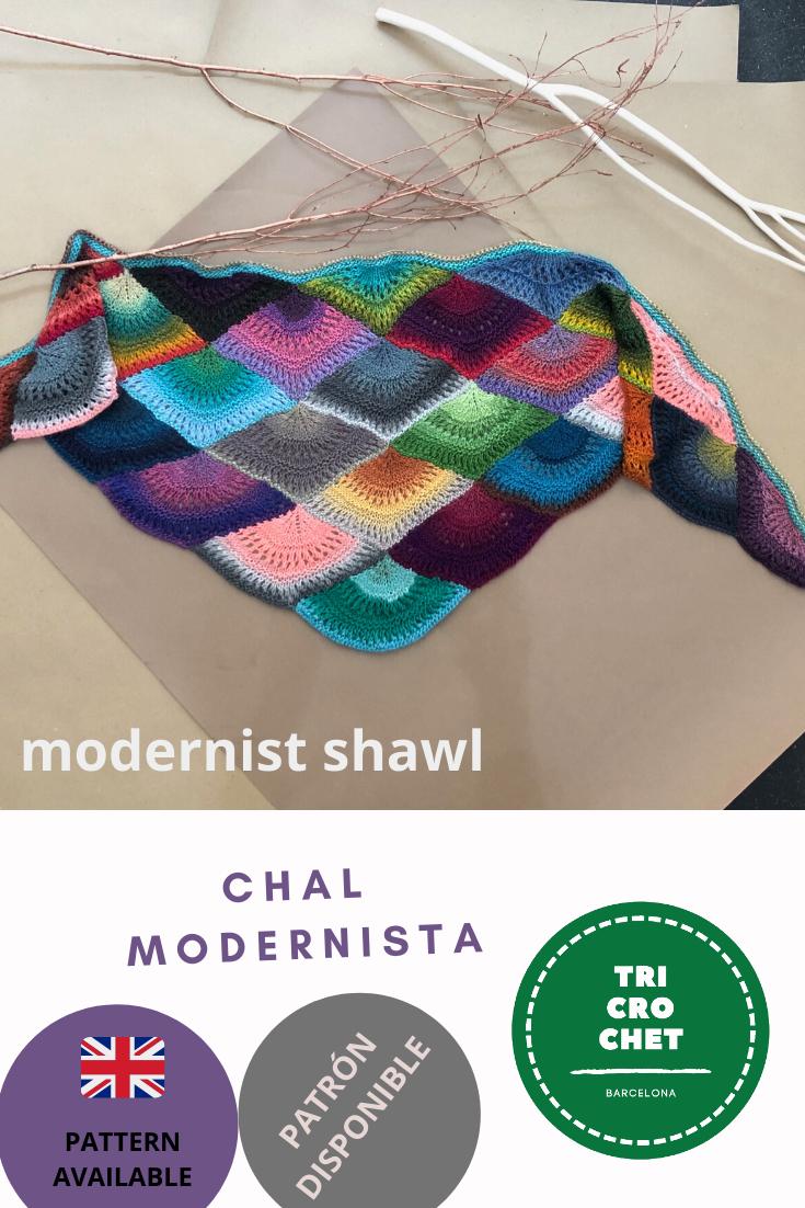 Modernist knitted shawl pattern / Patrón chal modernista de punto
