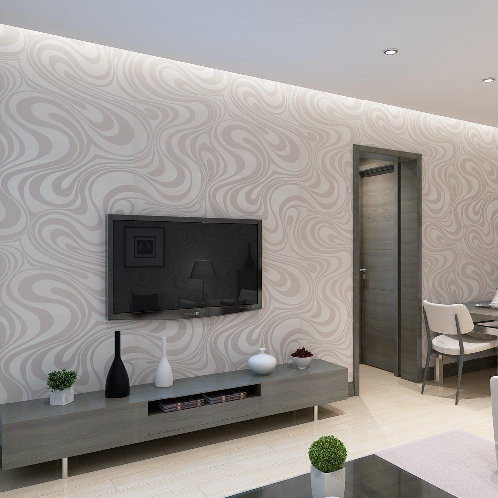 Accent Wall Modern Minimalist Abstract Curves Glitter Non Woven 3d Wal Best Living Room Wallpaper Wallpaper Living Room Accent Wall Living Room Wallpaper Cream Living room accent wallpaper