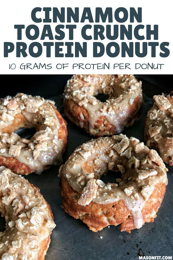 A recipe for Cinnamon Toast Crunch protein donuts with a sugar-free cinnamon glaze that has nearly 10 grams of protein and only 2.7 grams of fat per donut. These protein donuts are made with real Cinnamon Toast Crunch and deliver that great flavor with every bite. #cinnamontoastcrunch