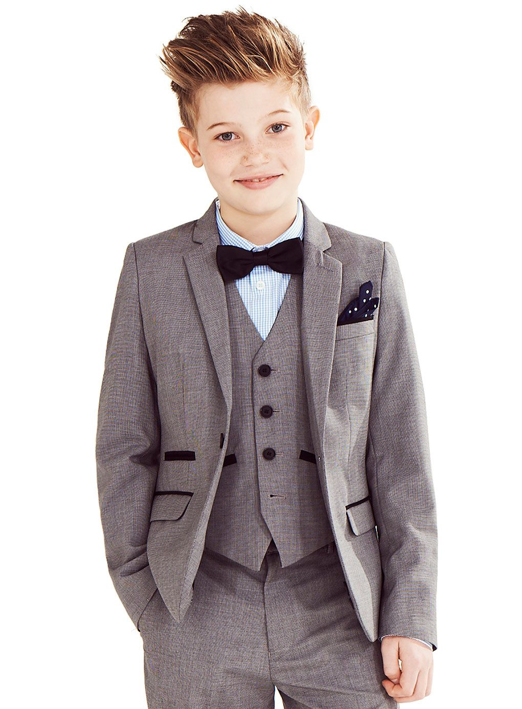 Transform him from a playful and energetic kid to a cultured gentleman with our boy's dress clothes! Start with the essentials, like dress shirts, slacks and dark socks. Consider picking up more than one lightly colored boys dress shirts so he's always ready for whatever occasion's on the horizon. For bottoms, a pair of black slacks is a must.