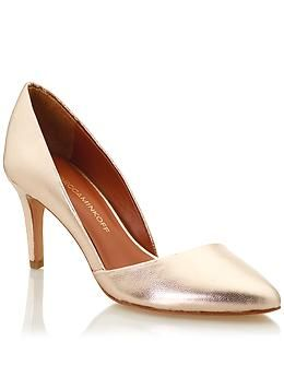 fded5dbc1be8 Gold Metallic Low Heel D-Orsay Rebecca Minkoff Brie Pumps Heels ...