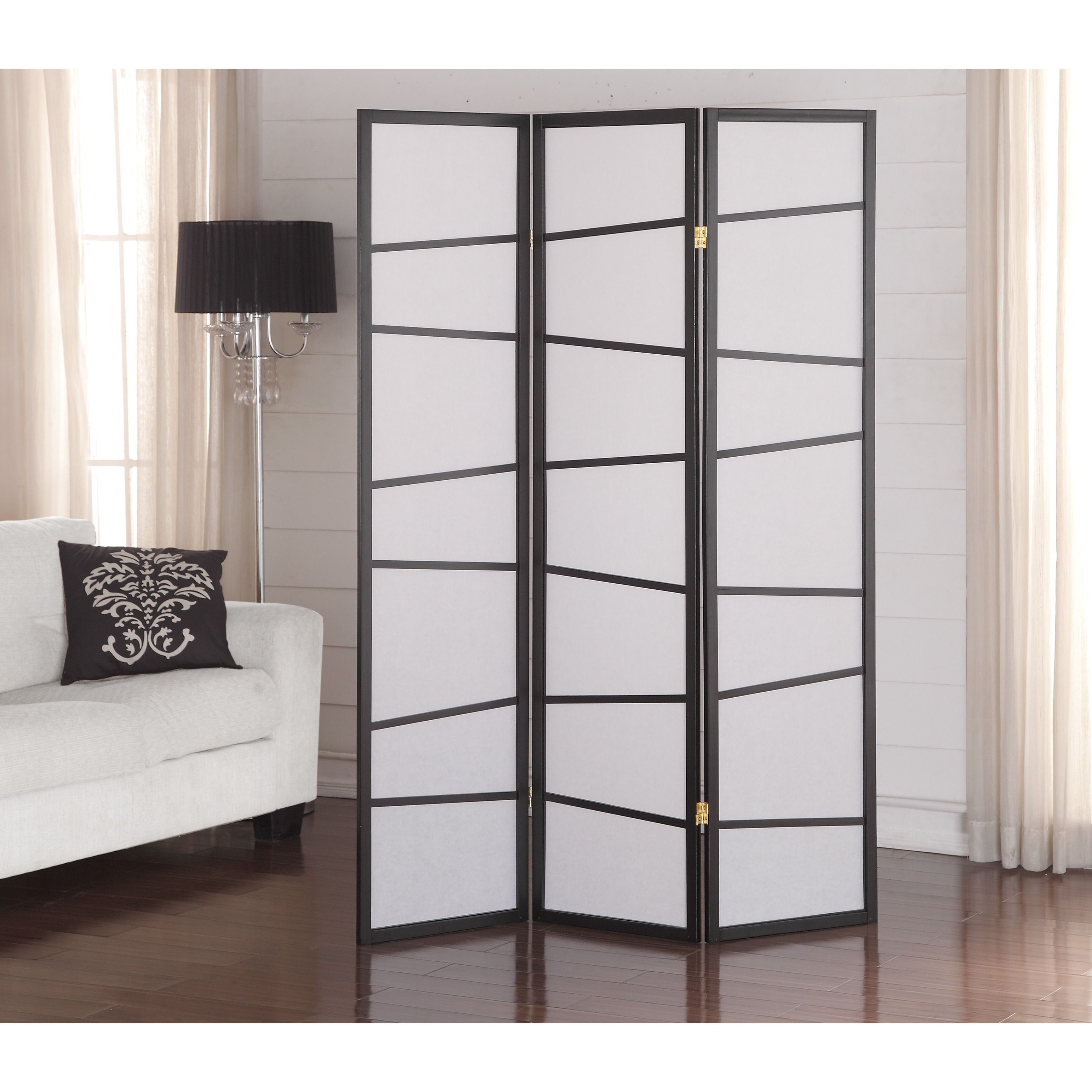 Black 3-Panel Screen Room Divider (Black and White) | Biombos