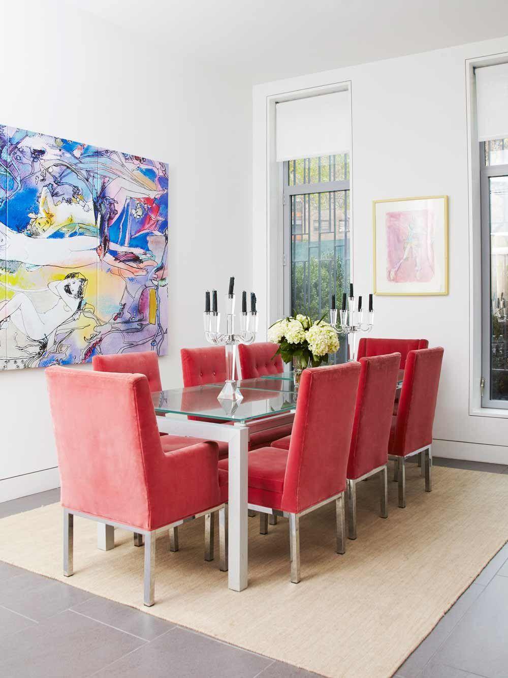 Du Rouge Pour Les Chaises Dans La Salle à Manger Déco - Chaises velours salle a manger pour idees de deco de cuisine
