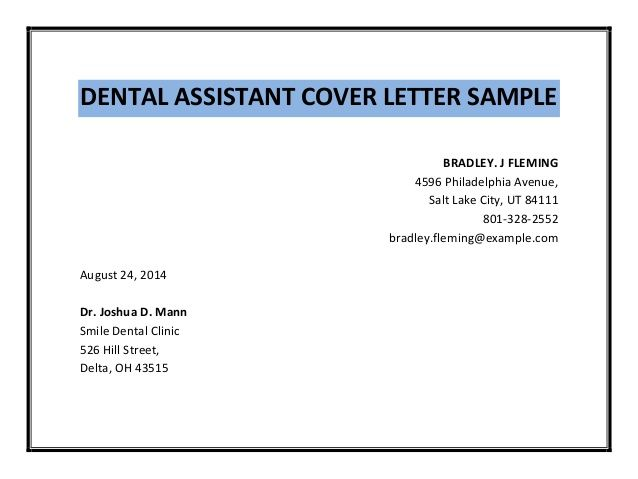 Dental Assistant Cover Letter Sample Pdf Best Letters Experience