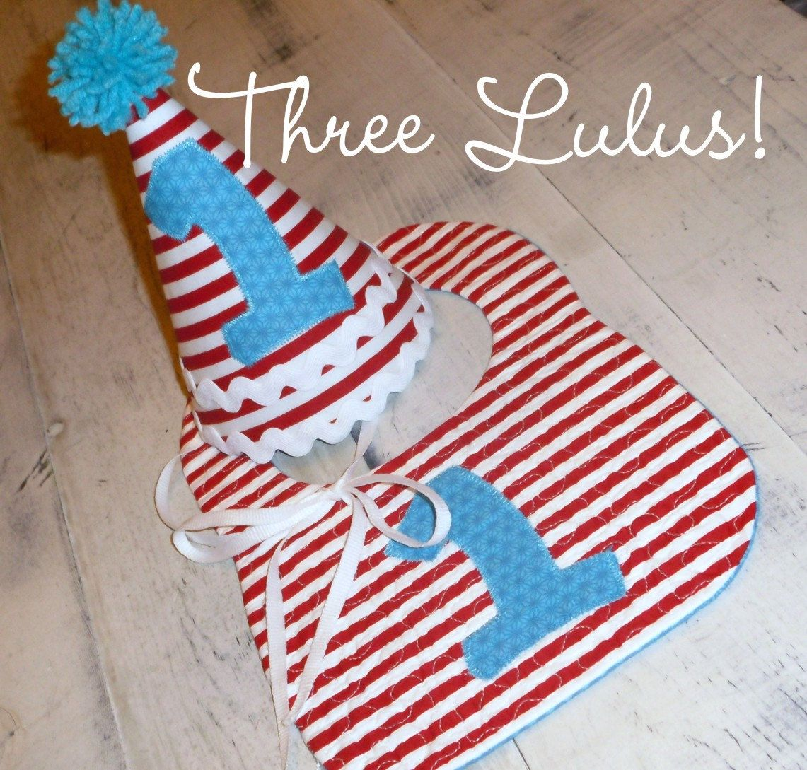 First 1st Birthday Hat Bib Set Dr Seuss Inspired Party Monogrammed Personalized Custom Boy Girl