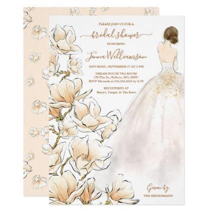 a62ae23a86a6 Watercolor Brunette Bride Magnolia Bridal Shower Invitation - invitations  custom unique diy personalize occasions