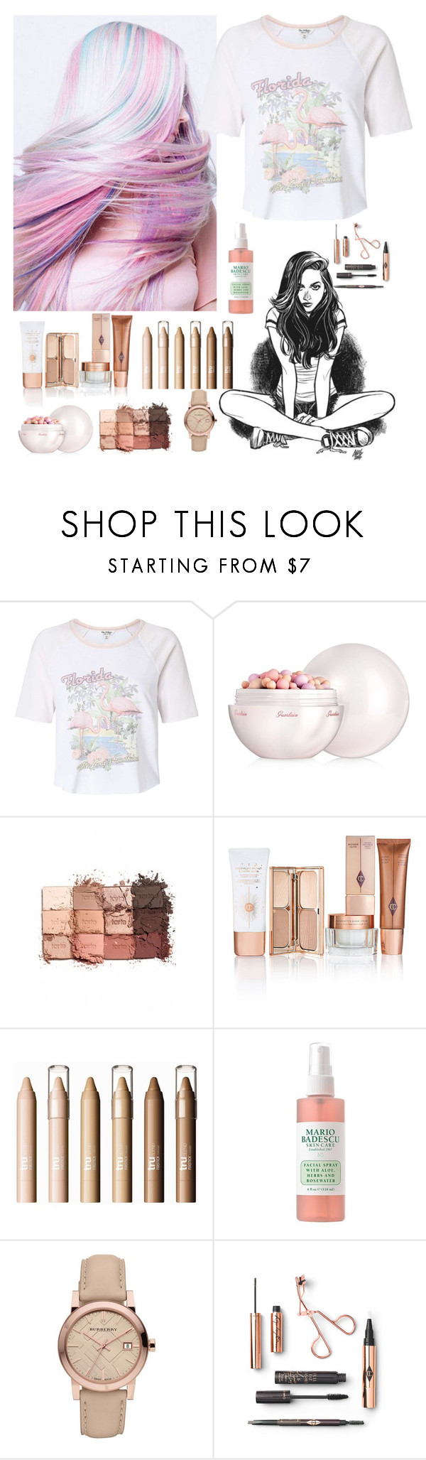 """Sun"" by oceanforthestars ❤ liked on Polyvore featuring Miss Selfridge, Guerlain, tarte and Burberry"