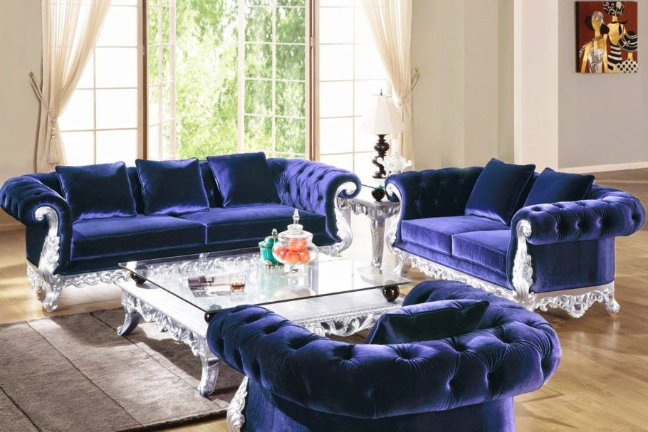 Posh Navy Blue Velvet Sofa Set With Silver Frame And Large Glass Top Coffee Table Images Gallery Of 14 Velvet Sofa Set Sofa Design Sectional Sofa With Chaise