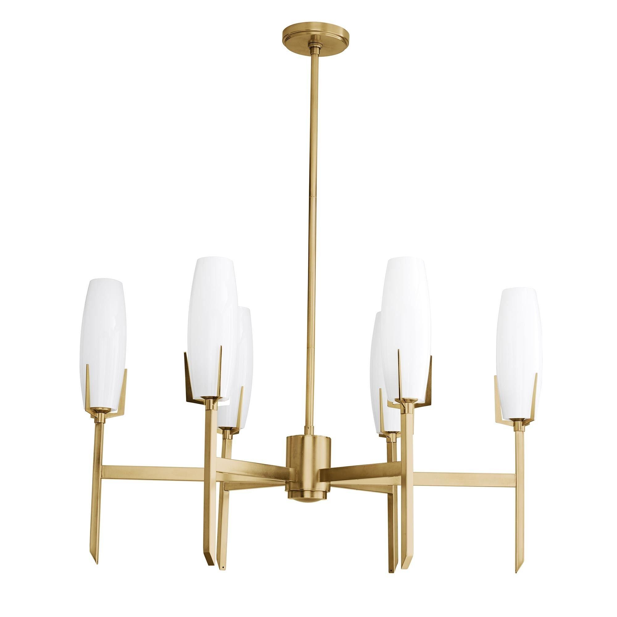 This Six Light Chandelier Features A Candelabra Like Form And Shines