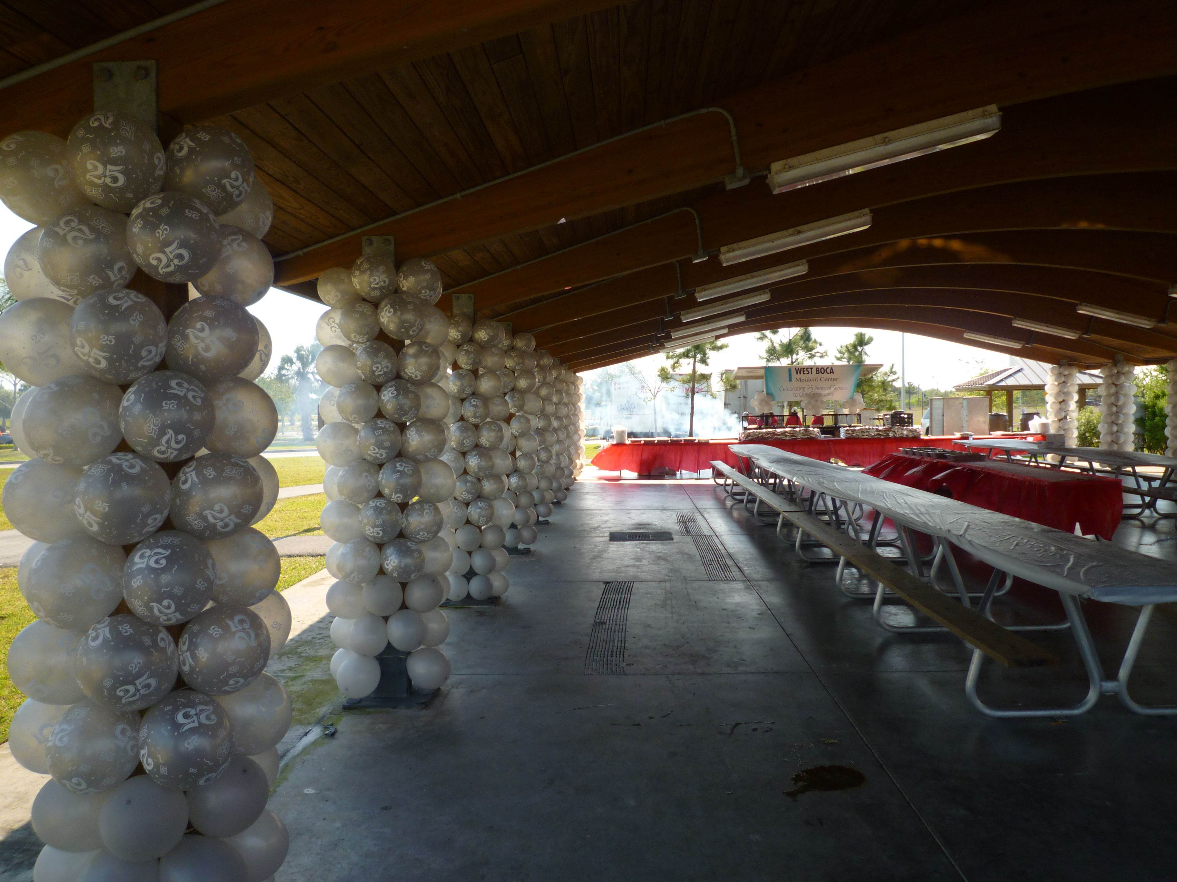 Party decorations miami baby shower balloon decorations - Park Pavilion Pillars Wrapping By Balloons Www Dreamarkevents Com Baby Q Showerbaptism Ideasboy Baptismdecoration Partyfrozen