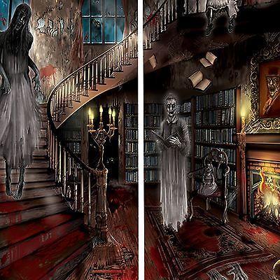 5ft haunted house halloween wall decoration scene setter room set