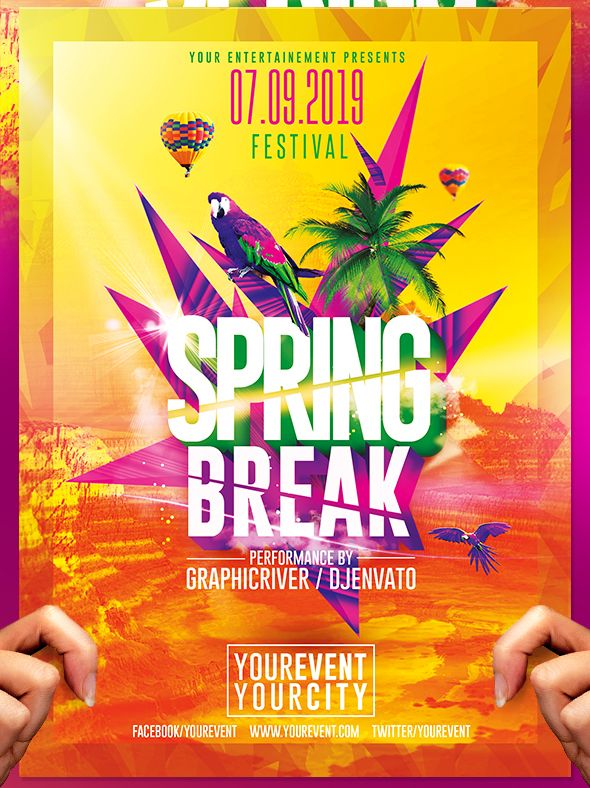 Spring Break Party Flyer Template on Behance A Clean template - pool party flyer template