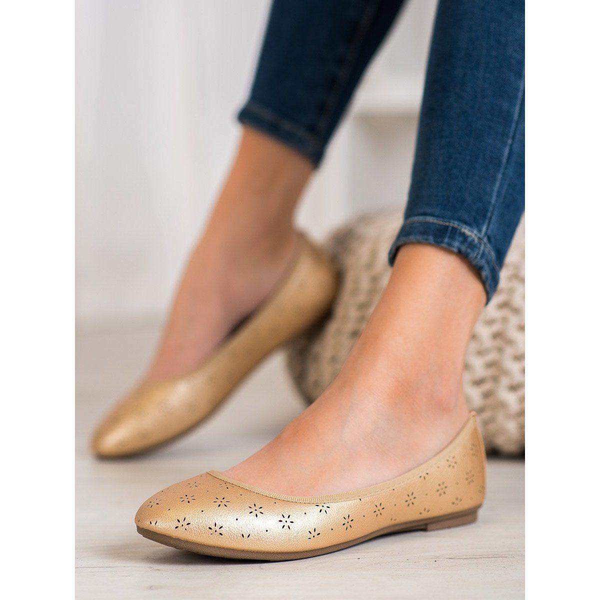 Fama Baleriny Z Azurowym Wzorem Zloty Shoes Flats Fashion
