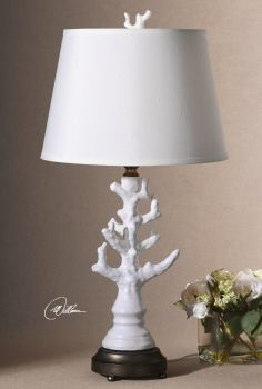 "Uttermost  27493 Coral White Table Lamp.  16"" diameter X 32"" high.  White linen shade with slub, glossy white glaze ceramic coral."