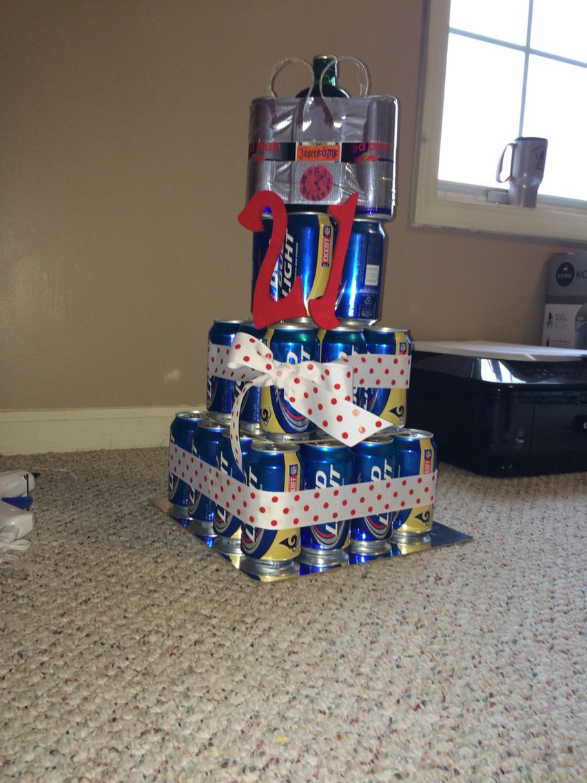 My Boyfriends 21st Birthday Present Beer Can Cake With Jagerbomb
