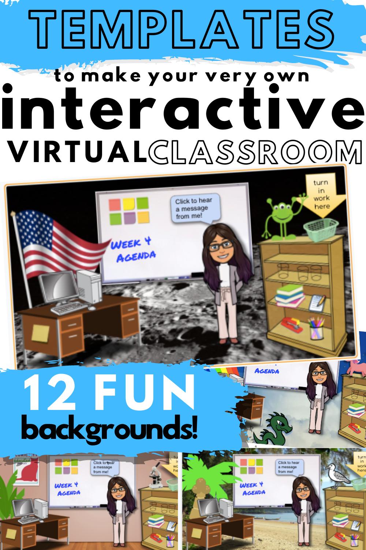 Bitmoji Virtual Classroom Templates Virtual Classrooms Interactive Classroom Virtual School