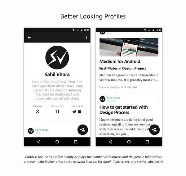 Medium for Android \u2013 Mobile app by Sahil Vhora Google Material