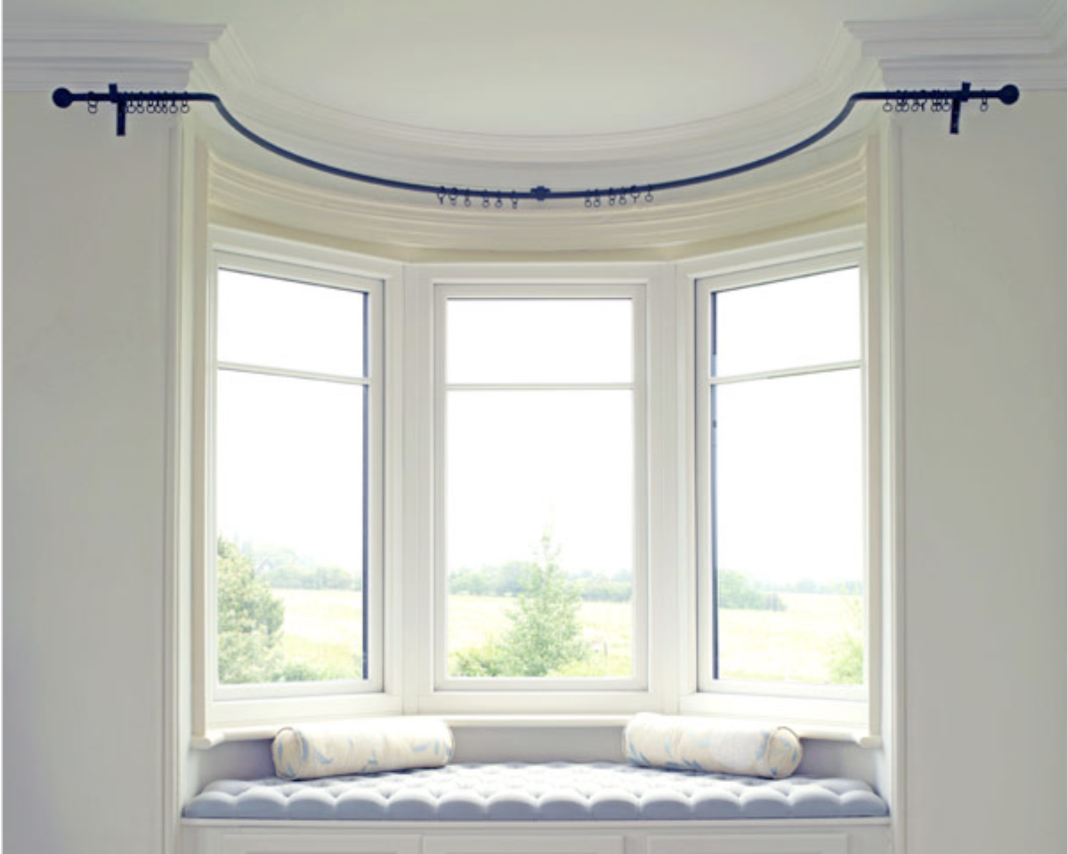 Pin By Marlene Nell On Decor In 2020 Bay Window Curtains Living Room Bay Window Living Room Bay Window Curtain Poles