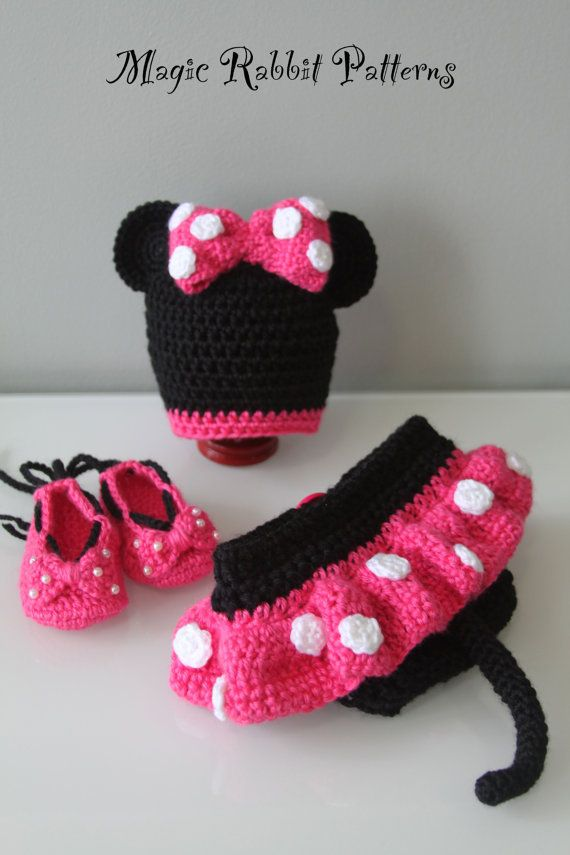 Crochet Minnie Mouse Hat Diaper Cover With Skirt And Shoes Pdf