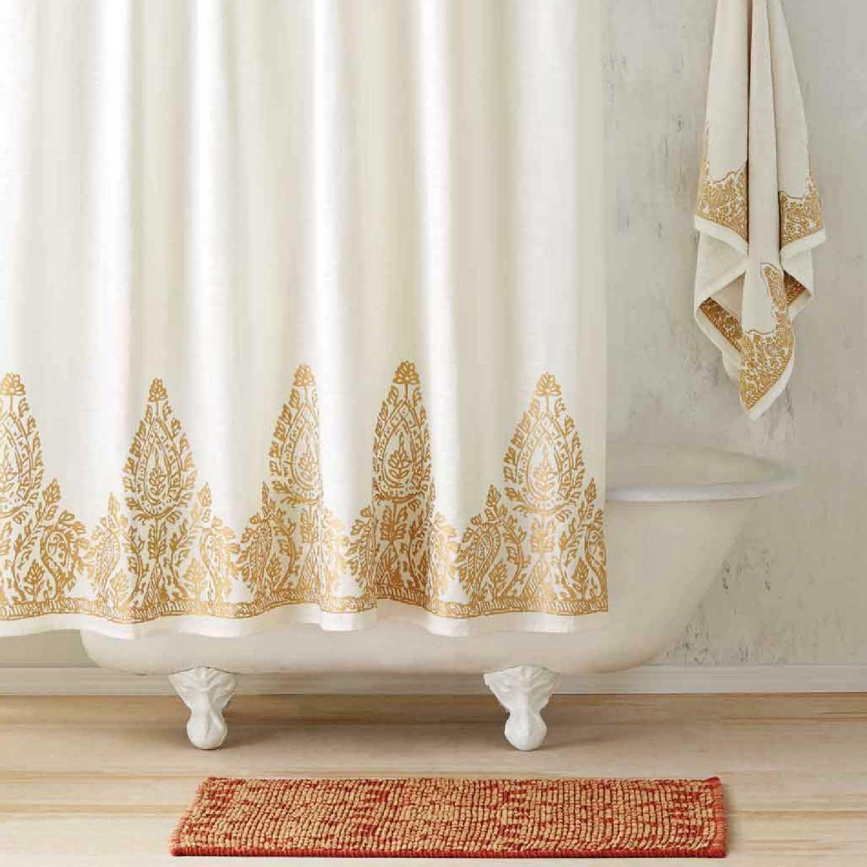 Nadir Pearl White Gold Shower Curtain Gold Shower Curtain Gold