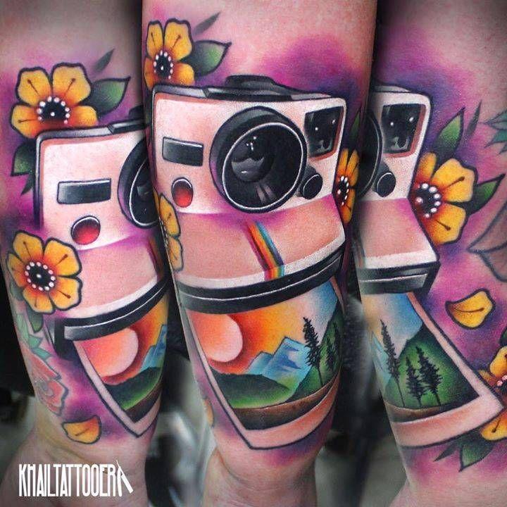 Polaroid Camera Tattoo On The Forearm Tattoo Artist Khail Aitken Cool Tattoos Beautiful Tattoos Camera Tattoo