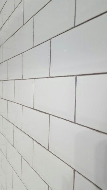 Beveled White Subway Tile With Delorean Gray Grout