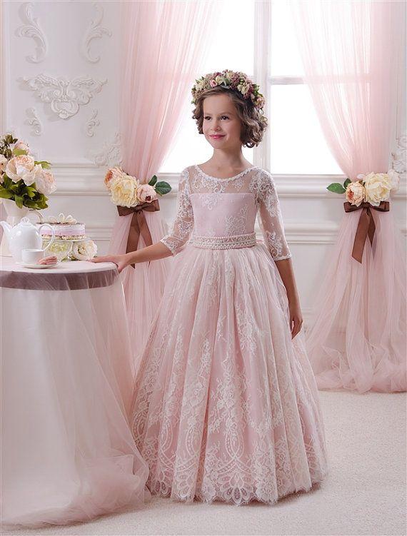 Erröten Rosa -Spitze-Tulle -Blumen-Mädchen -Kleid - Hochzeit Partei ...