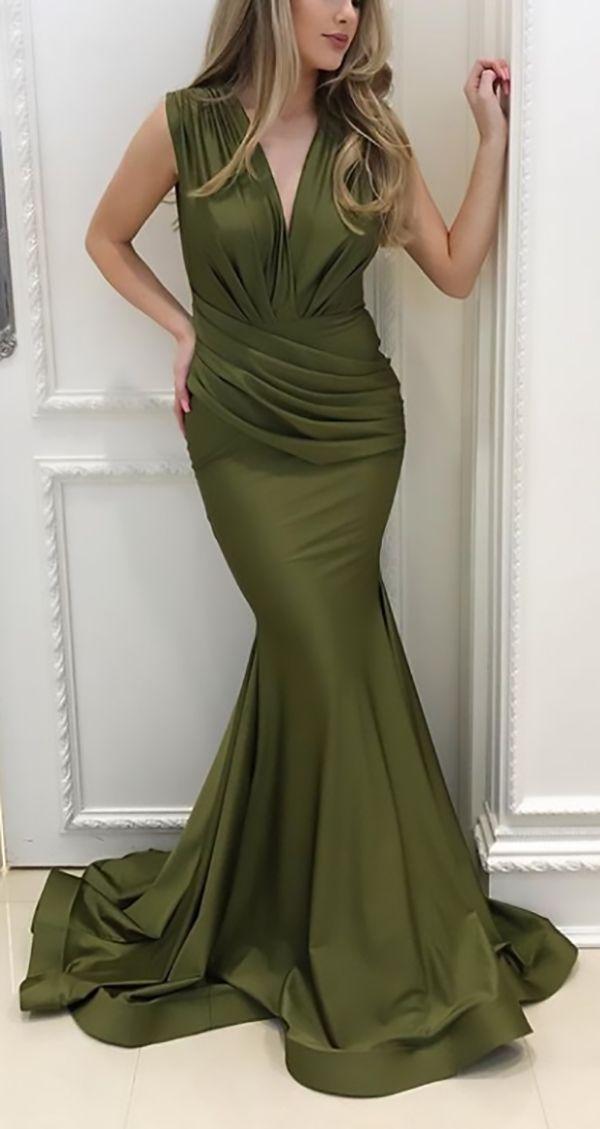MACloth Elegant Mermaid V Neck Long Prom
