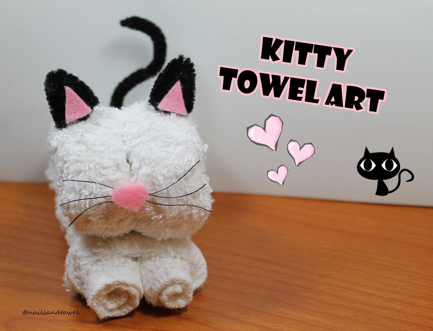 Piegare Gli Asciugamani A Forma Di Animale : How to make a kitty towel art video tutorial como hacer un