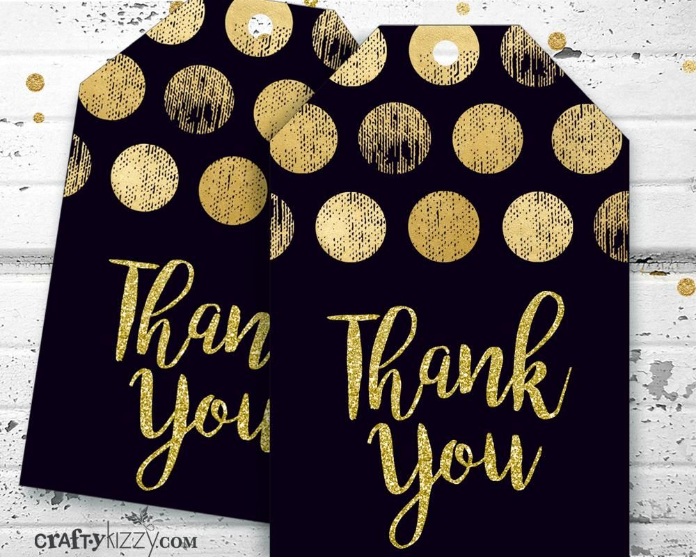 bridal shower invitation ideas craft%0A Gold and Black Thank You Favor Tags  Thank You Tags  Bridal Shower Baby  Shower