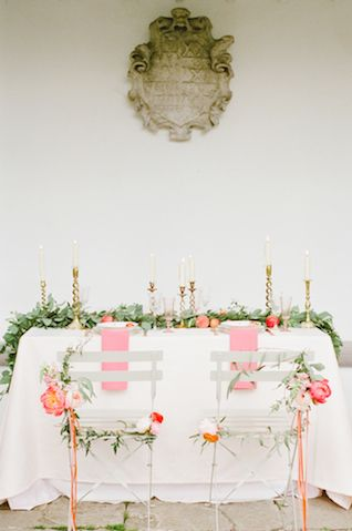 Pink wedding reception ideas | Claire Graham Photography | see more on: http://burnettsboards.com/2015/04/coral-peach-wedding-editorial/