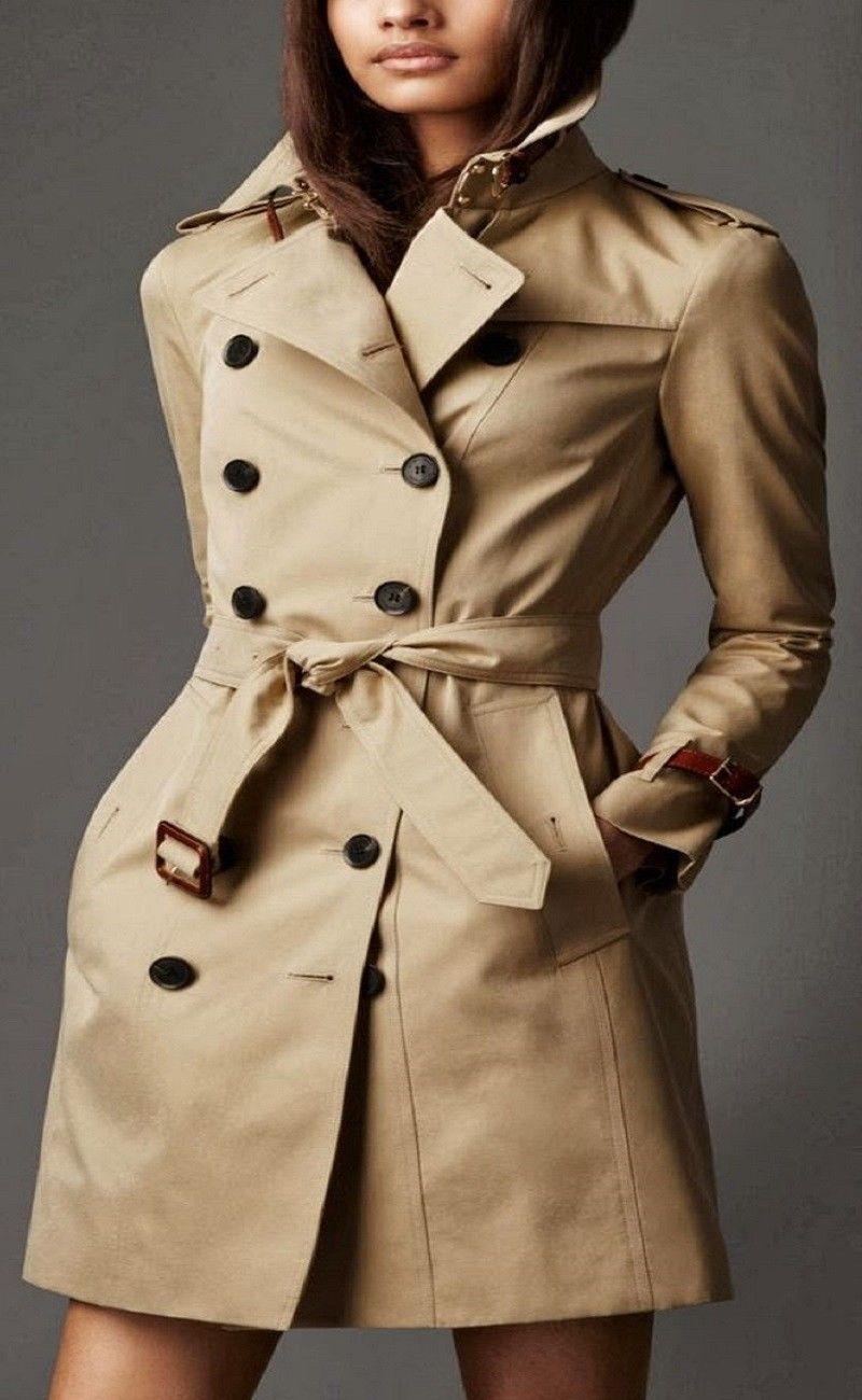 London Designer Trench Coat Jacket Mac Plaid Mahogany