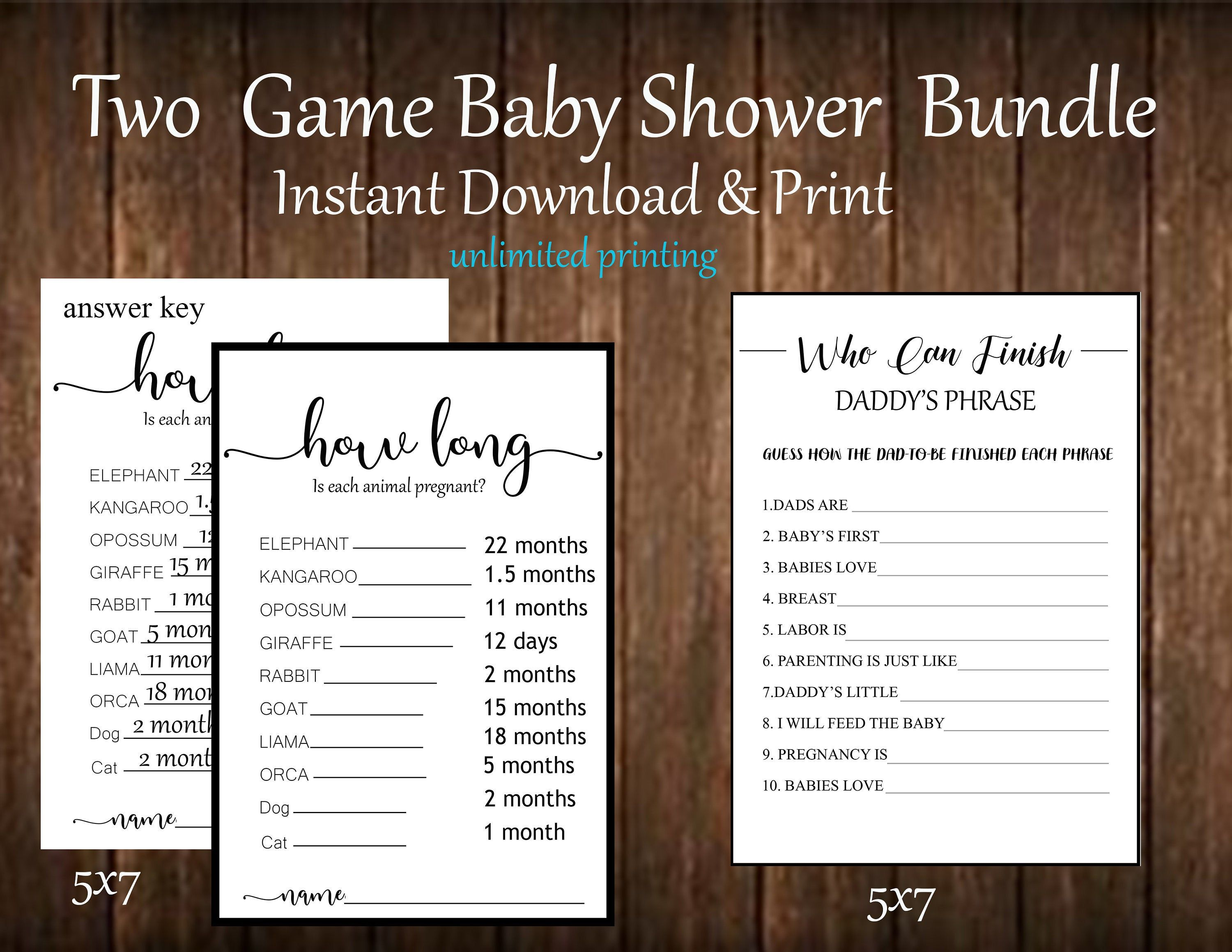 Printable Baby Shower Games Neutral Games How Long Who Can Etsy Gender Reveal Party Games Reveal Party Games Printable Baby Shower Games