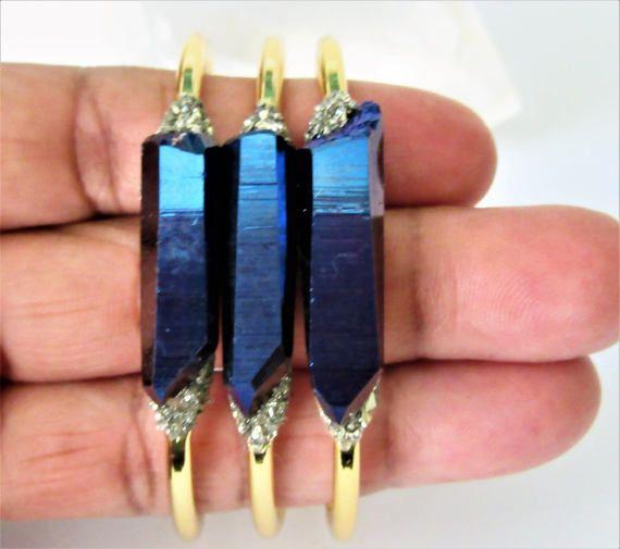76538cf229baf Raw Crystal Bracelet - Raw Stone Cuff- Cobalt Blue Titanium Quartz ...