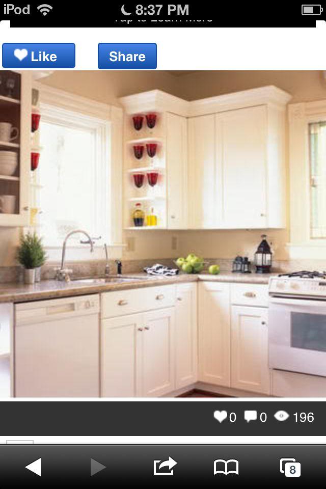 Cream with white appliances. Kitchen