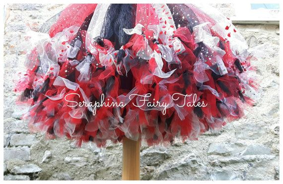 girls queen of hearts tutu dress costume lined red black. Black Bedroom Furniture Sets. Home Design Ideas