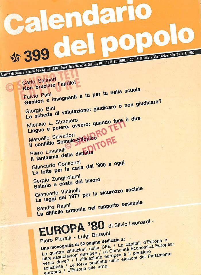 1978 Calendario.Il Calendario Del Popolo N 399 1978 Il Calendario Del