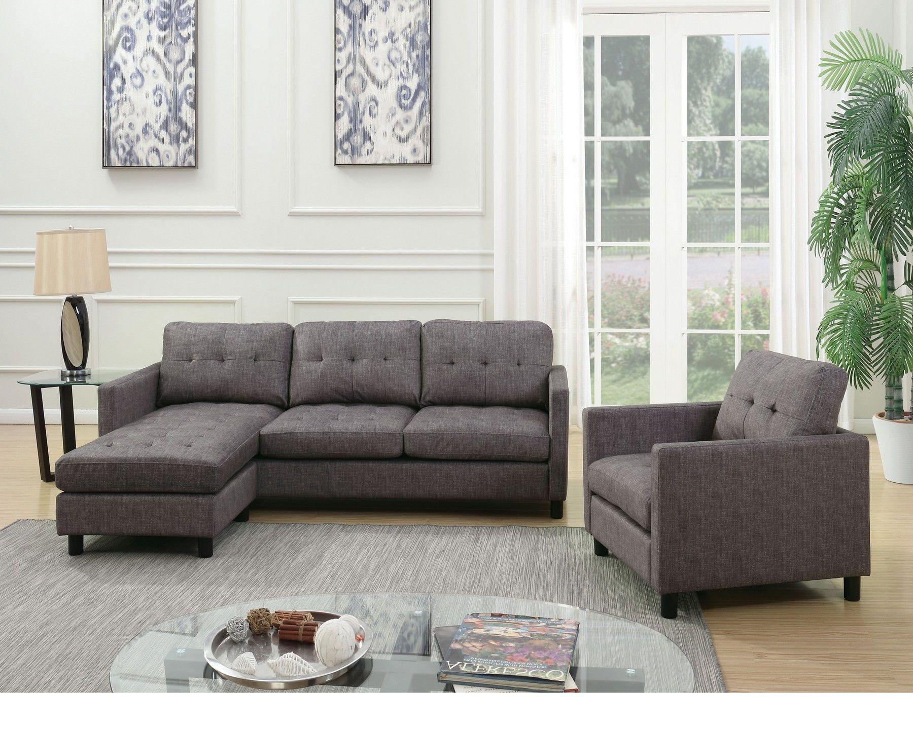 Acme Corporation Ceasar Gray Fabric Versatile Sectional