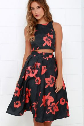 289e81faff4 Just My Imagination Black and Red Floral Print Two-Piece Dress