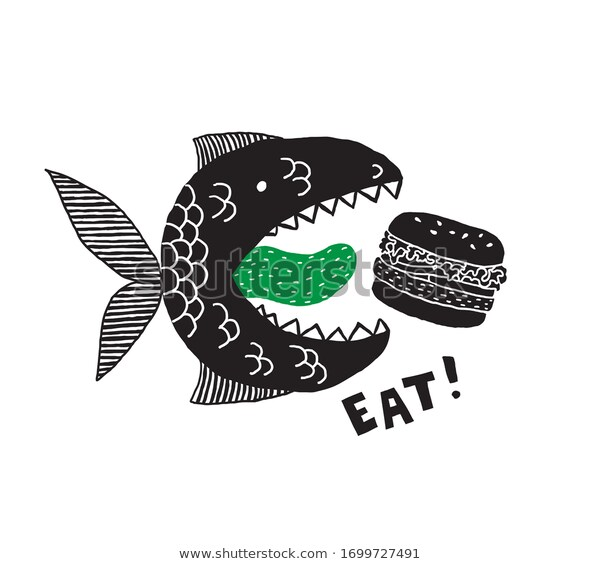 Fictional Monster Fish Open Mouth Tongue Stock Vector Royalty Free 1699727491 Monster Fishing Fish Vector Vector